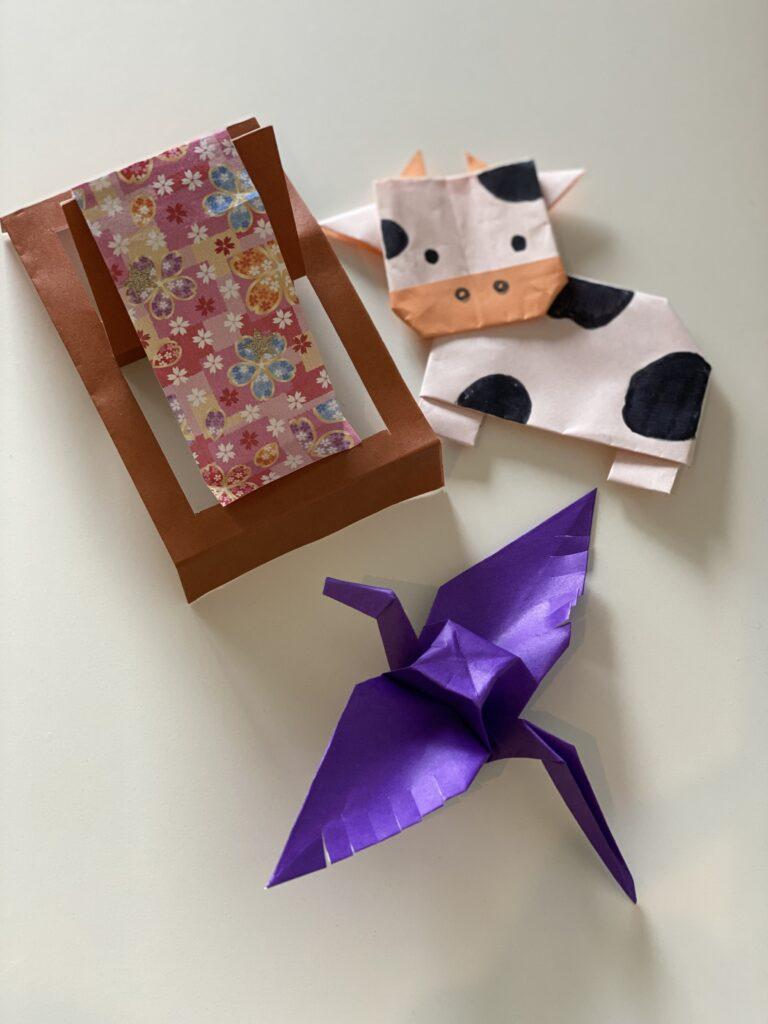 折り紙で牛、機織り、カササギ